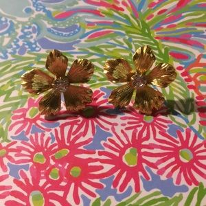 J. Crew gold floral earrings